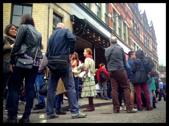 The mildly insane queue for the insanely good Monmouth Cafe